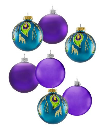 Peacock Glamour Glass Ornament Set by Treetopia