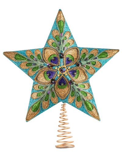 Ornate Peacock Holiday Star Tree Topper by Treetopia