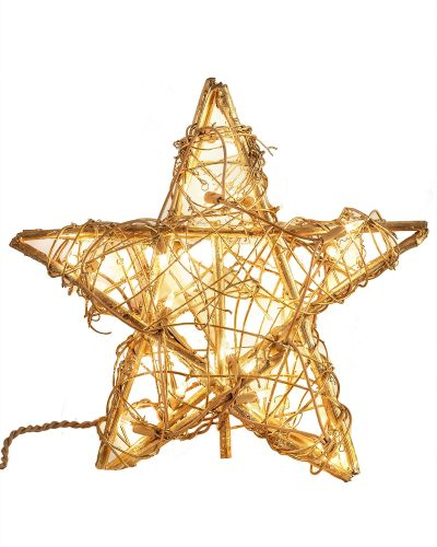 Gold Rattan Star Tree Topper by Treetopia