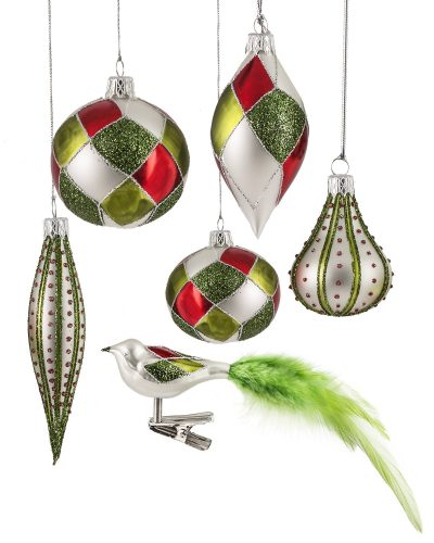 Silverdrop Assorted Glass Ornaments by Treetopia