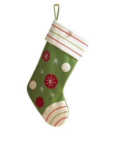 Green Polka Dotted Christmas Stocking by Treetopia