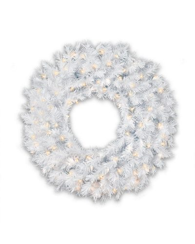 30″ Prelit Winter White Artificial Christmas Wreath with Multi Lights by Treetopia