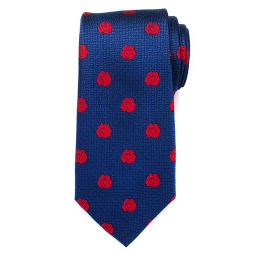Beauty and the Beast Enchanted Red Rose Blue Mens Silk Tie
