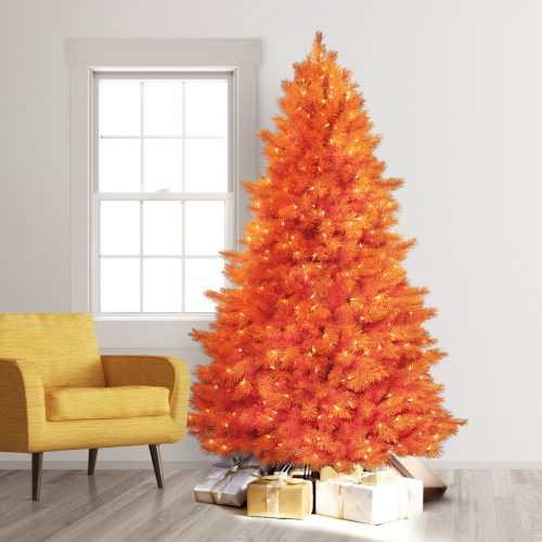 7.5′ Prelit The 100% Orange Artificial Christmas Tree with Clear Lights by Treetopia