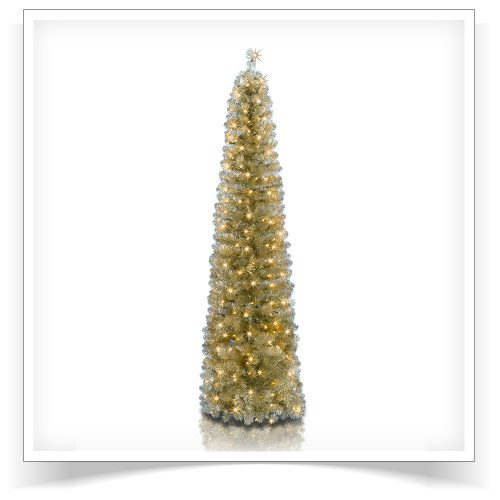 7′ Prelit All That Glitters Pencil Artificial Christmas Tree with Clear Lights by Treetopia