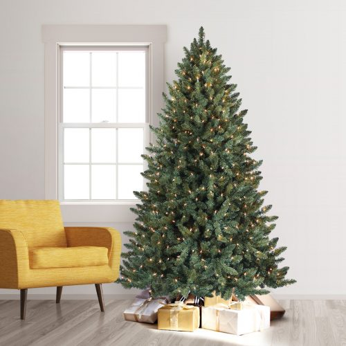 7′ Prelit Balsam Spruce Rotating Artificial Christmas Tree with Clear Lights by Treetopia