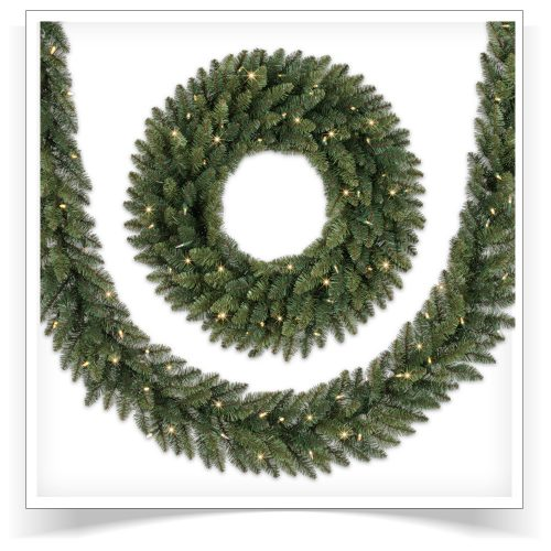 4-pack of 9′ Prelit Balsam Spruce Artificial Christmas Garland with Clear LED Lights by Treetopia