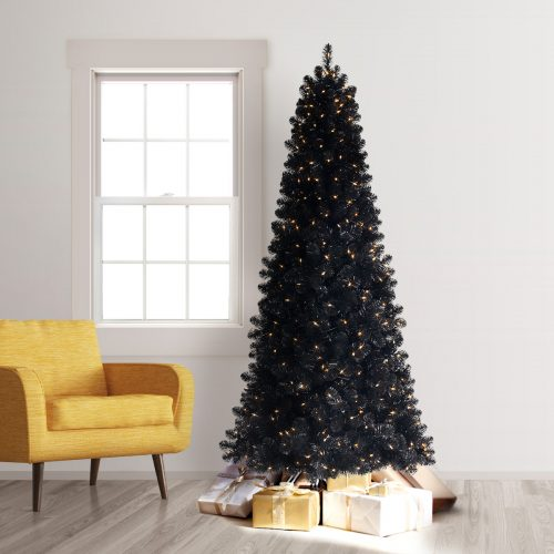 6′ Prelit Treetopia Basics Black Artificial Christmas Tree with Clear Lights by Treetopia