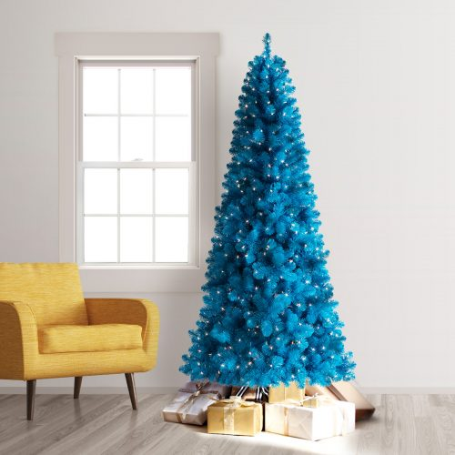 7.5′ Prelit Treetopia Basics True Blue Artificial Christmas Tree with Clear Lights by Treetopia