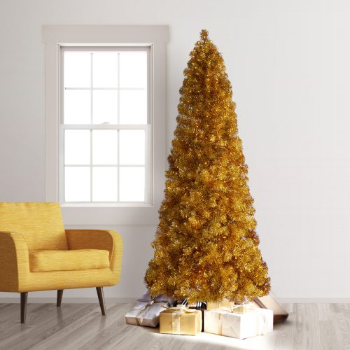 7.5′ Prelit Treetopia Basics Gold Artificial Christmas Tree with Clear Lights by Treetopia