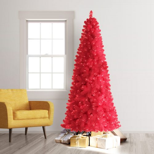 7.5′ Prelit Treetopia Basics Hot Pink Artificial Christmas Tree with Clear Lights by Treetopia
