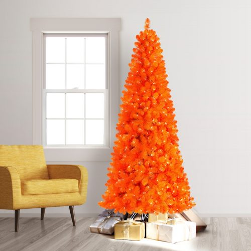 7.5′ Prelit Treetopia Basics Orange Artificial Christmas Tree with Clear Lights by Treetopia