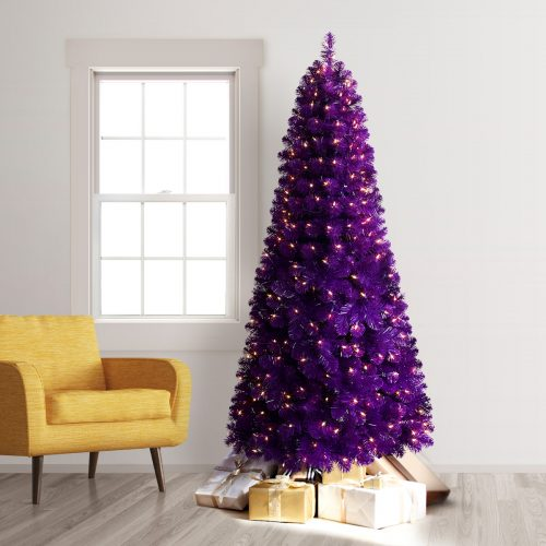 7.5′ Prelit Treetopia Basics Purple Artificial Christmas Tree with Clear Lights by Treetopia