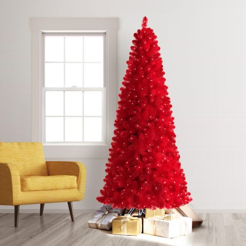 6′ Prelit Treetopia Basics Rose Red Artificial Christmas Tree with Clear Lights by Treetopia