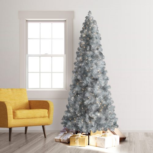 7.5′ Prelit Treetopia Basics Silver Artificial Christmas Tree with Clear Lights by Treetopia