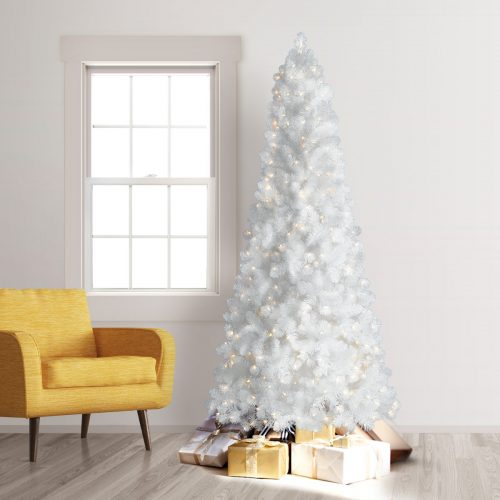 7.5′ Prelit Treetopia Basics White Artificial Christmas Tree with Clear Lights by Treetopia
