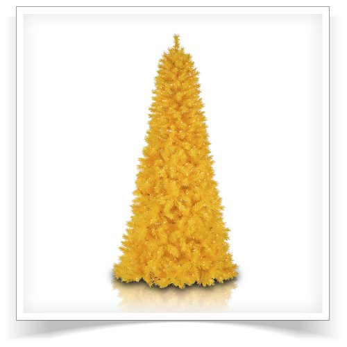 7.5′ Prelit Treetopia Basics Yellow Artificial Christmas Tree with Clear Lights by Treetopia