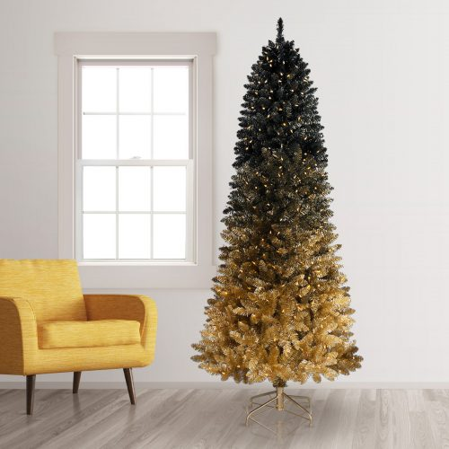 9′ Prelit Black Gold Ombre Artificial Christmas Tree with Clear LED Lights by Treetopia