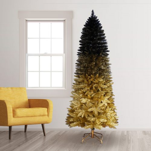 9′ Unlit Black Gold Ombre Artificial Christmas Tree by Treetopia