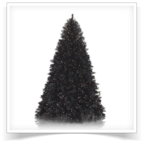 6′ Prelit Black Tiger Artificial Christmas Tree with Orange Lights by Treetopia