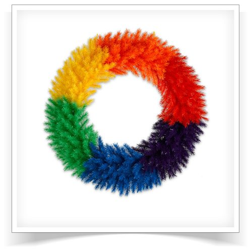 48″ Unlit Color Burst Rainbow Artificial Christmas Wreath by Treetopia