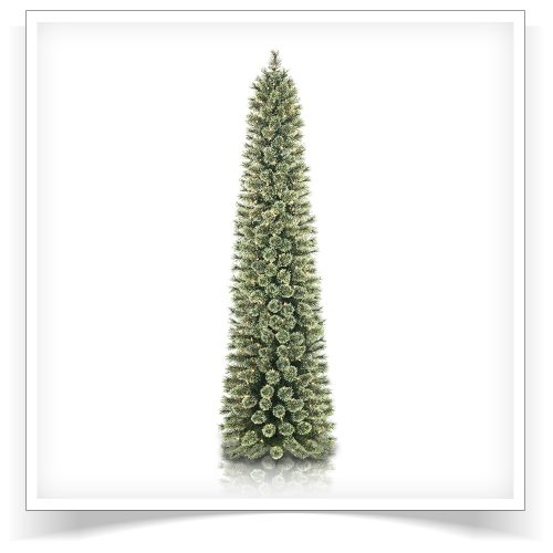 7′ Prelit Cozy Cashmere Pencil Artificial Christmas Tree with Clear Lights by Treetopia