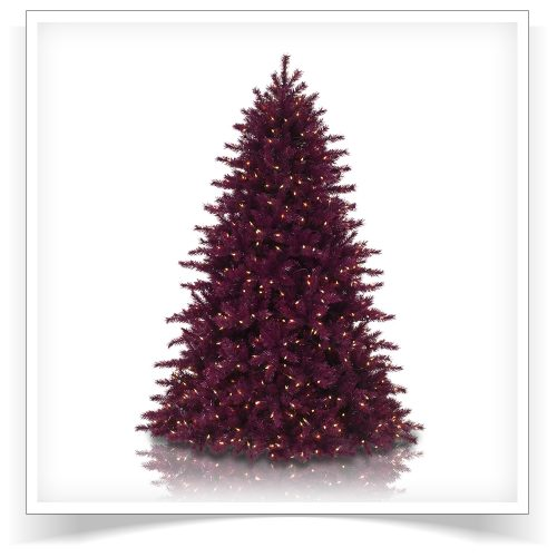 7′ Prelit Cranberry Crush Artificial Christmas Tree with Clear Lights by Treetopia