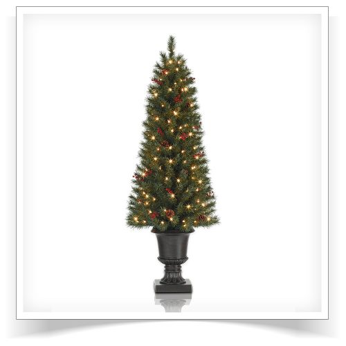 4.5′ Prelit Fresh Berry Potted Pine Artificial Christmas Tree with Clear Lights by Treetopia
