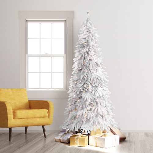 7.5′ Prelit Frozen Fir Artificial Christmas Tree with Clear Lights by Treetopia