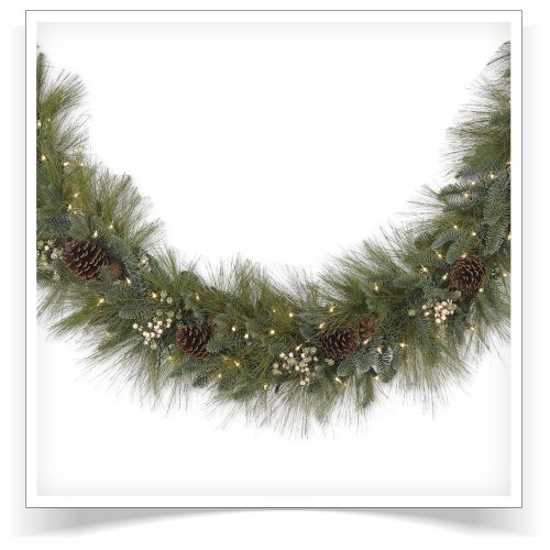 10′ Prelit Harvest Pine Artificial Christmas Garland with Clear Lights by Treetopia