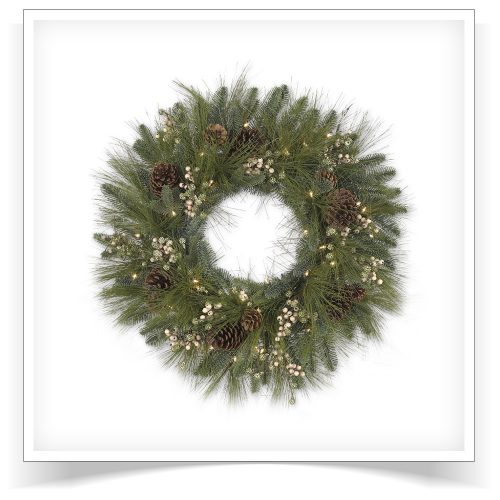 24″ Prelit Harvest Pine Artificial Christmas Wreath with Clear Lights by Treetopia