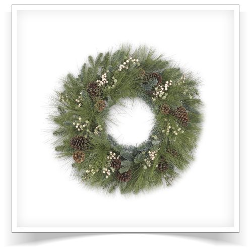 24″ Unlit Harvest Pine Artificial Christmas Wreath by Treetopia