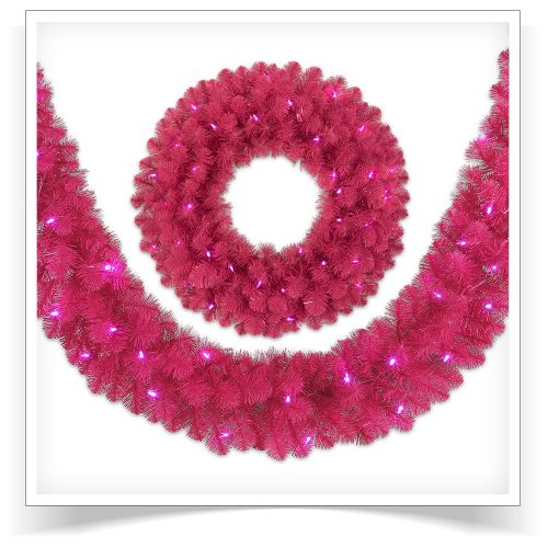 9′ Prelit Hot Pink Artificial Christmas Garland with Pink LED Lights by Treetopia