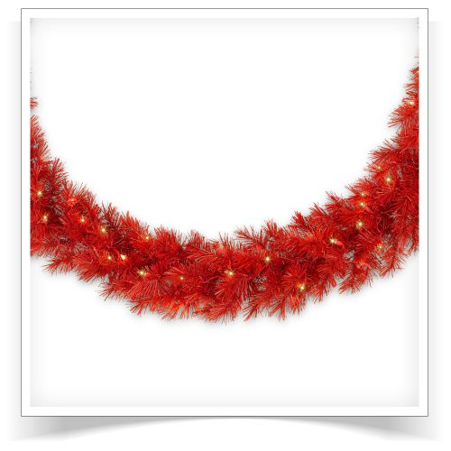 10′ Prelit Lipstick Red Artificial Christmas Garland with Clear Lights by Treetopia