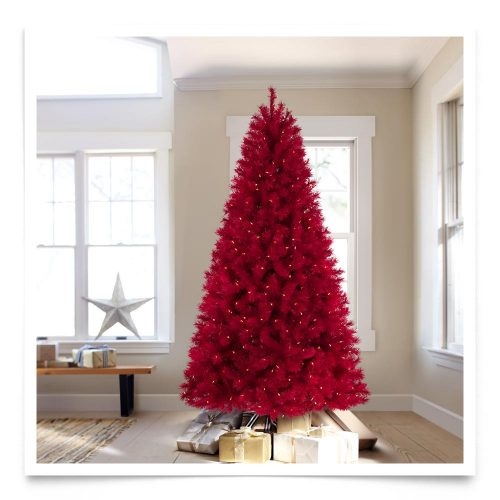 6′ Prelit Lipstick Red Artificial Christmas Tree with Red Lights by Treetopia