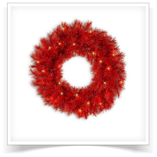 24″ Prelit Lipstick Red Artificial Christmas Wreath with Clear Lights by Treetopia