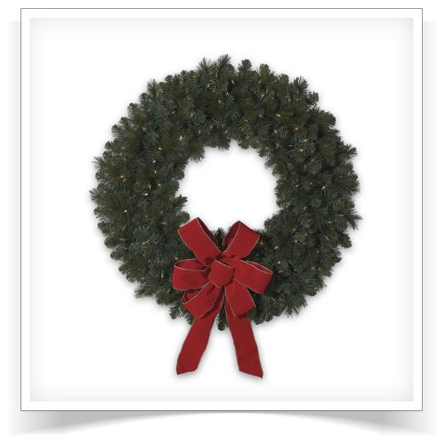 36″ Prelit Merry Mixed Pine Artificial Christmas Wreath with Clear Lights by Treetopia
