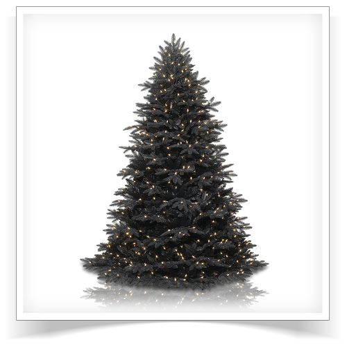 6.5′ Prelit Midnight Black Artificial Christmas Tree with Clear Lights by Treetopia