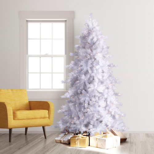7′ Prelit Moonlight White Artificial Christmas Tree with Clear Lights by Treetopia