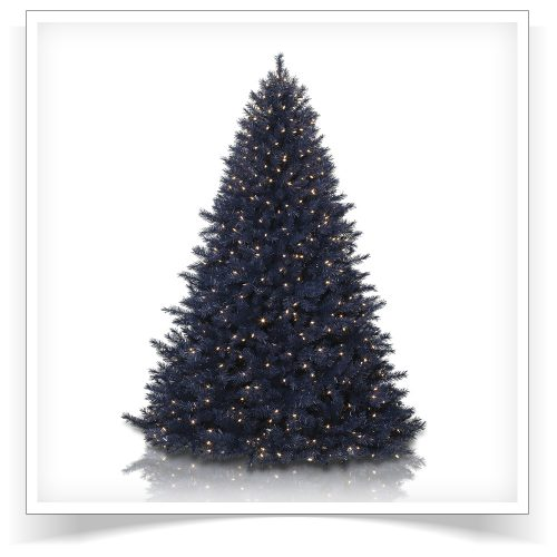 7′ Prelit Navy Blue Artificial Christmas Tree with Clear Lights by Treetopia