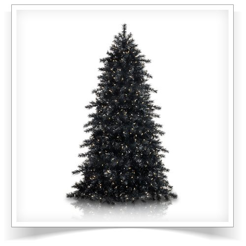 7′ Prelit Obsidian Black Artificial Christmas Tree with Clear Lights by Treetopia