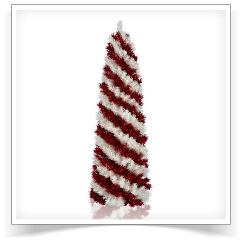 7′ Unlit Peppermint Stick Pencil Artificial Christmas Tree by Treetopia