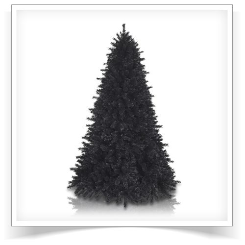9′ Unlit Pitch Black Pine Artificial Christmas Tree by Treetopia
