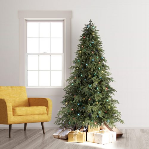 9′ Prelit Portland Pine Artificial Christmas Tree with Clear Multi LED Lights by Treetopia