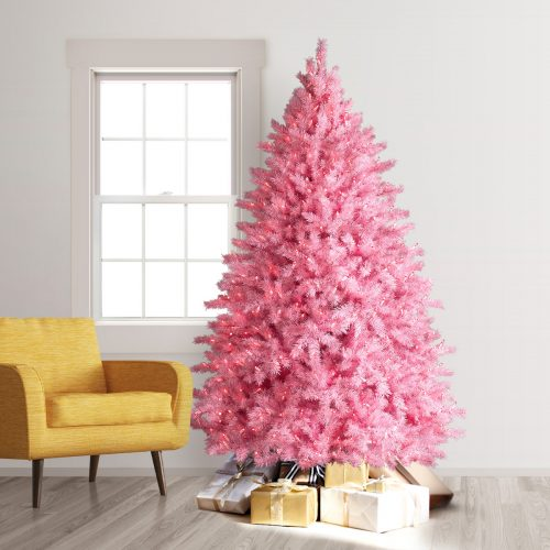 7.5′ Prelit Pretty in Pink Artificial Christmas Tree with Clear LED Lights by Treetopia