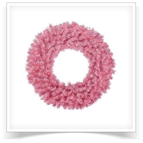 24″ Prelit Pretty In Pink Artificial Christmas Wreath with Pink Lights by Treetopia