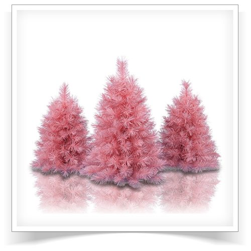 Set of 3 Unlit Pretty In Pink Tabletop Trees by Treetopia