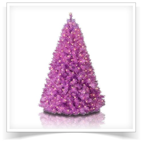 6′ Prelit Purple Groove Tinsel Artificial Christmas Tree with Clear Lights by Treetopia