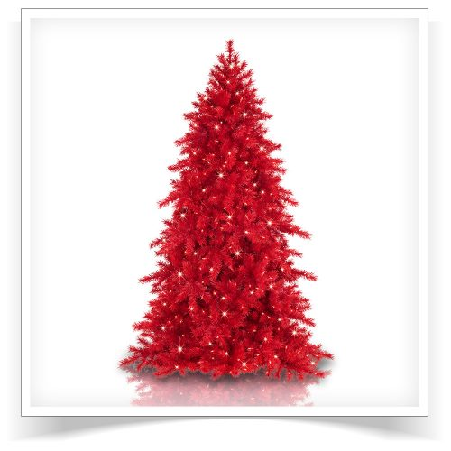 7′ Prelit Red Red Pine Artificial Christmas Tree with Clear Lights by Treetopia
