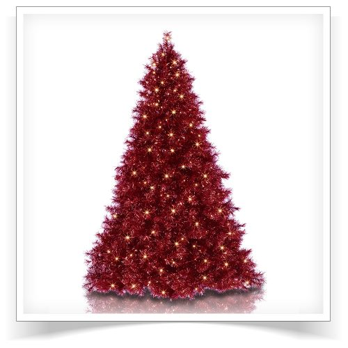 6′ Prelit Ruby Red Tinsel Artificial Christmas Tree with Clear Lights by Treetopia
